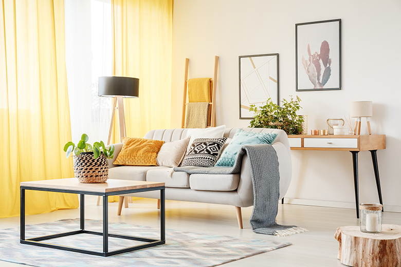 Plant on table and lamp in warm living room with yellow curtains, posters and pillows on sofa